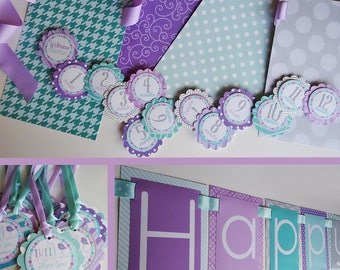 Bird Birthday Party Decorations, Fully Assembled, It's Tweet To Be One, Lavender and Aqua, Birdie Birthday, Little Tweetie Party