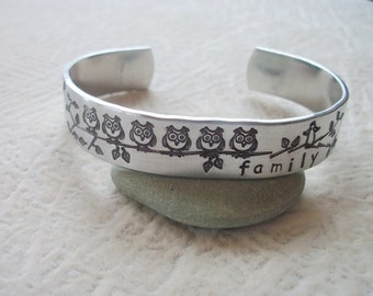 Owls & Angel Family Aluminum Cuff Bracelet - Little Owls On A Branch - Friends, Sisters, Mom And Daughters - Hand Stamped 1/2 Inch Cuff