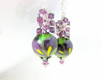 Purple Calla Lily Earrings, Floral Earrings, Crystal Dangle Earrings, Botanical Earrings, Lampwork Earrings, Nature Jewelry - Lilies