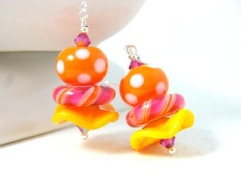 Fun Earrings, Yellow Pink Orange Ruffle Earrings Polka Dots & Stripes Earrings, Colorful Jewelry, Lampwork Earrings, Whimsical - Layer Cake
