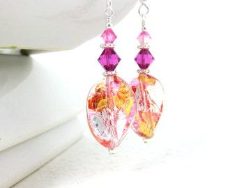 Murano Earrings, Pink Silver Gold Earrings, Pink Glass Earrings, Simple Earrings, Dangle Earrings, Cute Earrings, Murano Jewelry  Rain Drops