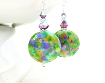 Purple Green Earrings, Glass Earrings, Watercolor Earrings, Dangle Earrings, Lampwork Earrings, Statement Earrings Gift for Her Cottage Chic