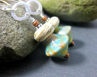 Boho Dangle Earrings, Rustic Earrings, Green Ivory Lampwork Earrings, Mixed Metal Dangle Earrings, Sterling Silver Earrings, Glass Earrings