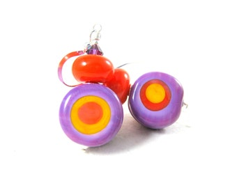 Funky Earrings, Purple Orange Yellow Red Earrings, Glass Earrings, Bright Color Jewelry Lampwork Earrings Fun Jewelry Dangle Earrings Target