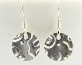 Sterling Silver Abstract Pattern Disc Earrings, Minimalist Womens Disc Earrings, Circle Coin Earrings
