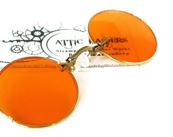 Round Orange Sunglasses - Steampunk Eye wear