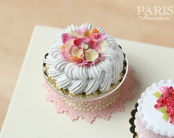 Marie-Antoinette Style Cream Cake Decorated with Sugared Rose Petals - Miniature Food in 12th Scale for Dollhouse