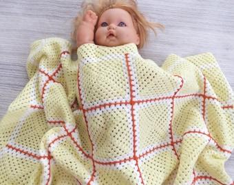 "39""x39"" Crochet Baby Blanket Pattern , Baby Stroller Blanket, Crochet Granny Square, Sample Granny Square, Crochet Bohemian Afghan"