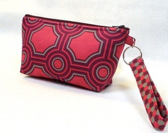SALE! Wristlet Clutch Purse Zipper Pouch Cosmetic Bag Key Ring Fob Joel Dewberry Square Tiles Gray Raspberry Mulberry Pink Geometric