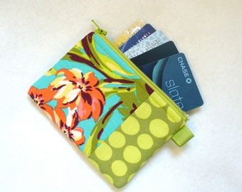 Fabric Business Card Case Coin Purse Amy Butler Fabric Zippered Credit Card Case Womens Card Holder Wallet Bliss Bouquet Teal Turquoise Pink