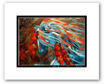 Majestic Horses 27 -Abstract Native American Feathers - ArT Prints by Bihrle mm27