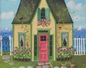 Lily Pad Cottage Folk Art Print