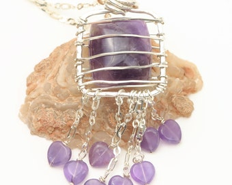 Caged Square Amethyst Cabachon Necklace w/ Amethyst Heart Charm Fringe Dangles Sterling OOAK Ships Immediately