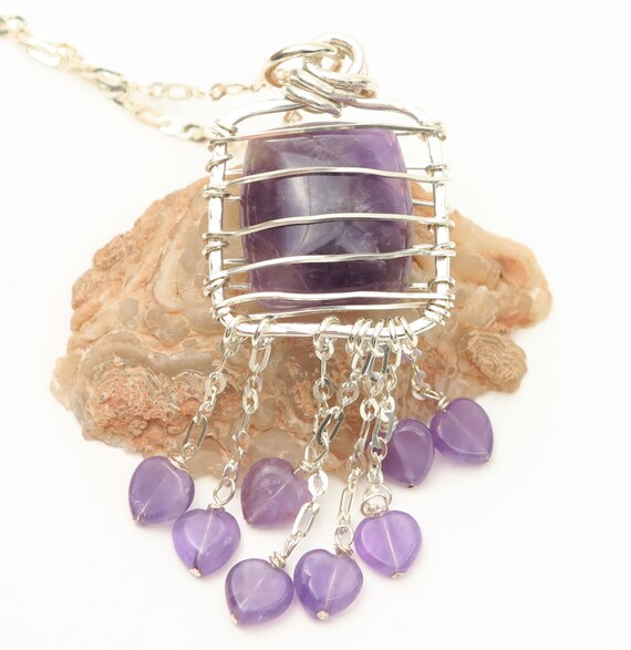 Amethyst Necklace, Heart Charm Necklace, Rustic Jewelry, Amethyst Pendant, Silver Chain, Boho Bohemian