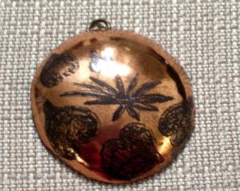 Vintage Copper Pendant,  Heart Pendant, Huge Copper Domed Medallion Pendant