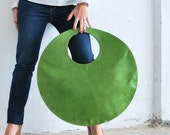 Green Large tote, circle leather handbag, clutch bag, circle bag fuchsia, green everyday tote