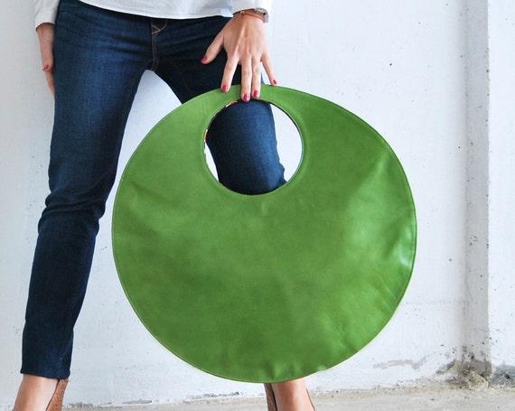 Green Large tote, circle leather handbag, clutch bag, circle bag fuchsia, green everyday tote