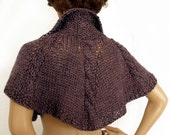 CUSTOM ORDER. Knit capelet, Outlander inspired cape, Knit Shoulderette, Romantic cape, Victorian capelet, Cabled knit cape,