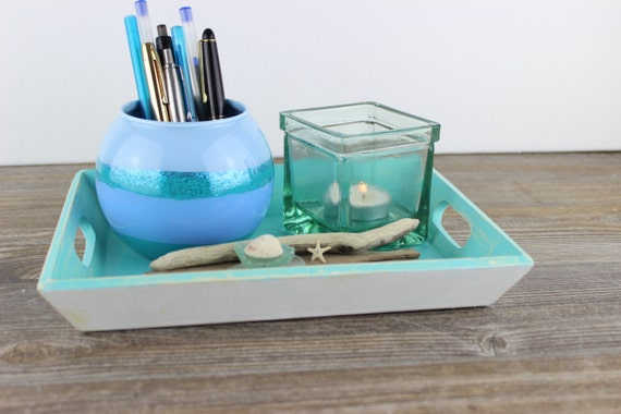 Items similar to coastal coffee table decor serving tray for Unique beach house decor