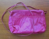 Magenta Pink Leather Crossbody Strap Purse Clutch, Small