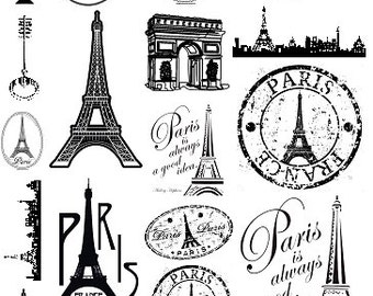 Sepia Decals for Glass Fusing 21 Paris Themed Fusible Glass Decals