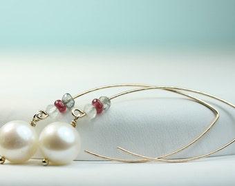 Open Hoop Earrings Handmade Gold filled long ear wires, pearls, labradorite, red spinel, aquamarine, by art4ear, long hook dangle earrings