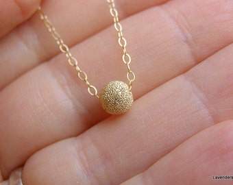 Gold ball Necklace , Gold Necklace , Simple everyday Necklace , Stardust ball   Necklace , Dainty Necklace