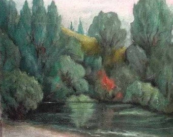 IMPRESSIONIST Painting Listed Artist C Taubenheim Vintage 1930 California Plein Air River Landscape Harbor Boats Oil 20x24 FREE Shipping