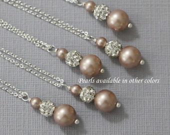 CUSTOM COLOR Swarovski  Champagne (Powder Almond) Pearl Necklace, Bridesmaid Necklace, Bridal Necklace, Wedding Necklace, Bridesmaid Gift