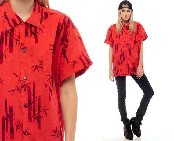Bamboo shirt button up shirt 80s leaf print red black by for Bamboo button down shirts