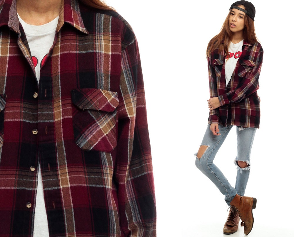 90s Plaid Shirt Oversized Burgundy Red Flannel Shirt Grunge