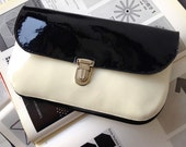 Navy & Cream Patent Leather Clutch