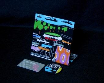 Fabric Magnetic Board,  Freestanding Desktop Magnet Board, Urban Sprawl Decor Fabric
