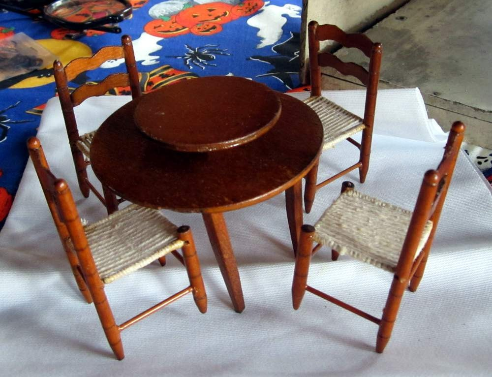 miniature kitchen table with lazy susan and four chairs