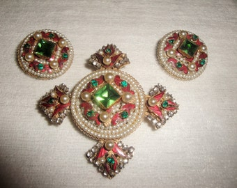 Rare Vintage Eugene Faux Pearl and Enamel Brooch and Earring Set