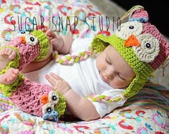Crochet Owl Hat, Baby Owl Hat, Owl Leg Warmers, Owl Hat and Leg Warmer Set, Baby Girl Hats, Crochet Baby Hats