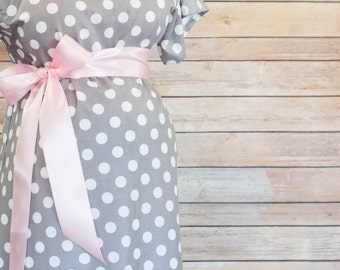 Gray Polka Dot Maternity Delivery Gown, Robe, Headband, and Burp Pad Bundle - Set to make your delivery Picture Perfect!