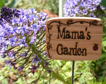 Cedar Garden Sign- Mama's Garden Sign with Red Ladybug- Wooden Natural Garden Sign- Wood Plant Markers- Natural Garden Decor