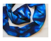 Blue and Turquoise Abstract Organic Hand Dyed Crepe de Chine Shibori Silk Scarf - 415