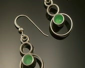 Luna Green Chrysoprase Sterling Earrings-Hand Made French Hooks- Free US Standard Shipping