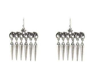 Gothic Earrings - Dark Tribe - Antiqued Sterling Silver Plated Flourish and Spikes by Ghostlove