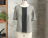 Anouk Linen Top - Natural Linen and Lace Sweater - Folk Style Linen Pullover - Peasant top - Cropped Sweater