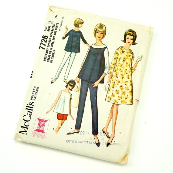Vintage 1960s Womens Maternity Size 12 Sports Separates McCalls Sewing Pattern 7726 / bust 32 / Complete