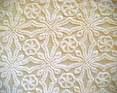 Antique Butter Cream Hofmann Vintage Chenille Bedspread Fabric 12 x 24 Inches