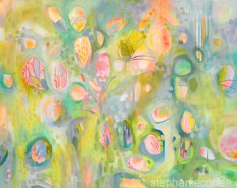 Amazement Original Acrylic Painting - Abstract Canvas Painting - Spring Colors Art - Whimsical ARt - Nursery ARt - Fresh, Green Painting