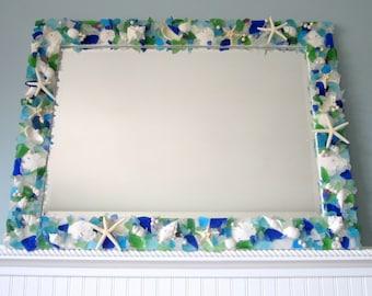 Sea Glass Mirror, Beach Decor, Nautical Decor Beach Glass Mirror, Seashell Mirror, Sea Glass Wall Mirror, Beach Home Decor,  #CM3426SG