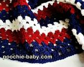 Crochet Baby Blanket - Houston Texans Team Colors Receiving Size Handmade Blanket