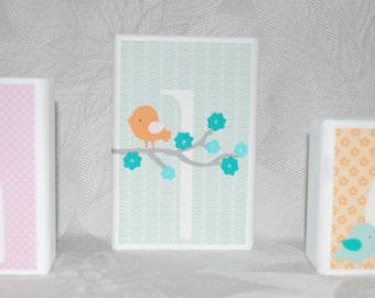 Personalized Name Blocks . Migi Modern Blossom . in Pink Aqua White Orange with Birds and Flowers . Khloe