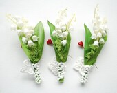 Lily of the Valley Boutonniere Pin, White Weddings Accessories, Grooms Groomsmen Lily Boutonniere, Spring May Weddings, White Green Flowers