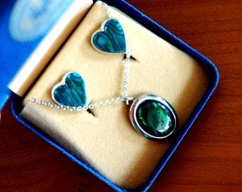 Vintage Paua Necklace Earring Set Abalone Shell Heart Shape Aqua Green Pacific Paua Unique